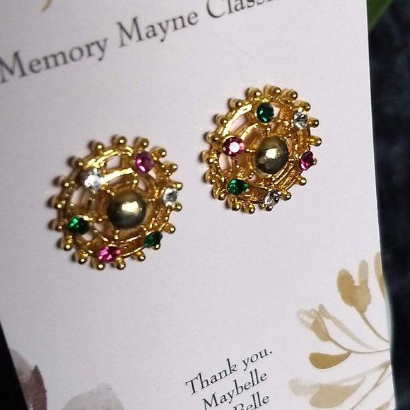 3/$25 vintage colorful 'gems' circle earrings
